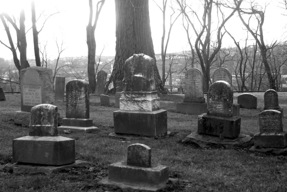 black and white photo of burial ground