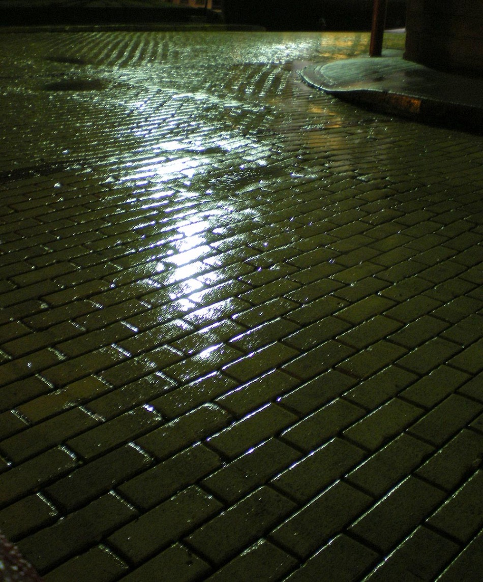 photo of a wet brick street at night