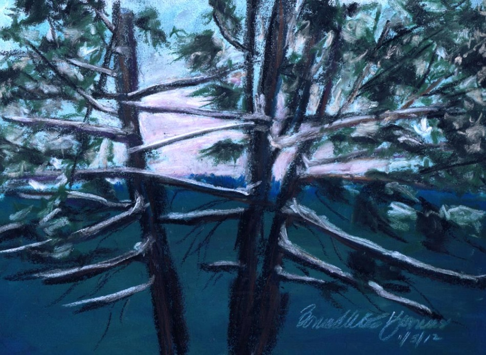 pastel sketch of hemlocks with snow