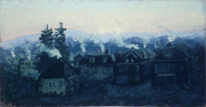 pastel painting Frosty Morning, Just Before Dawn, pastel © B.E. Kazmarski