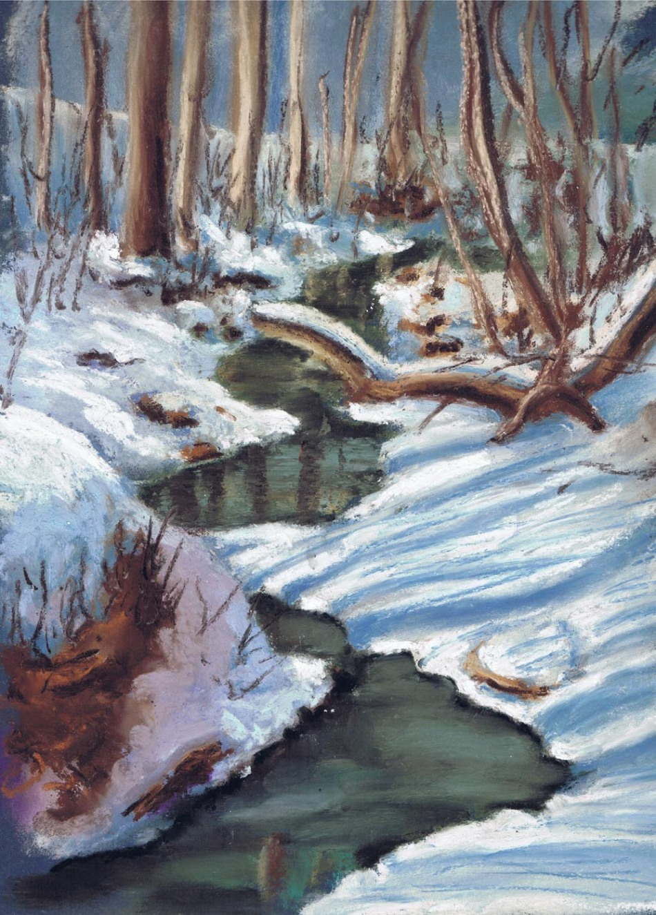 pastel painting of stream
