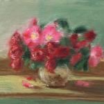 pastel sketch of roses in a vase