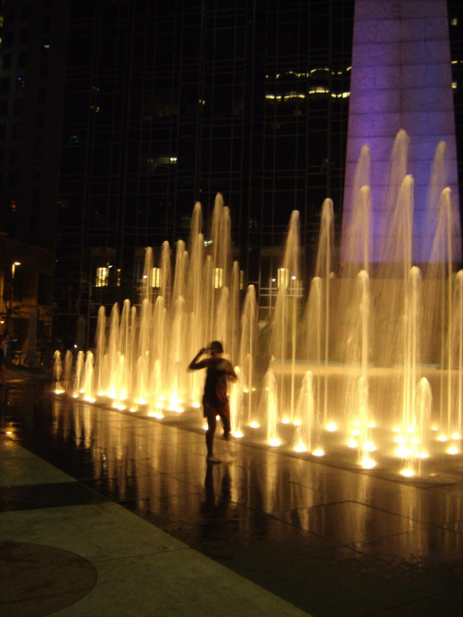city fountain in color at night