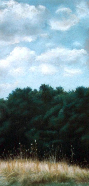 pastel painting of grass, trees and sky