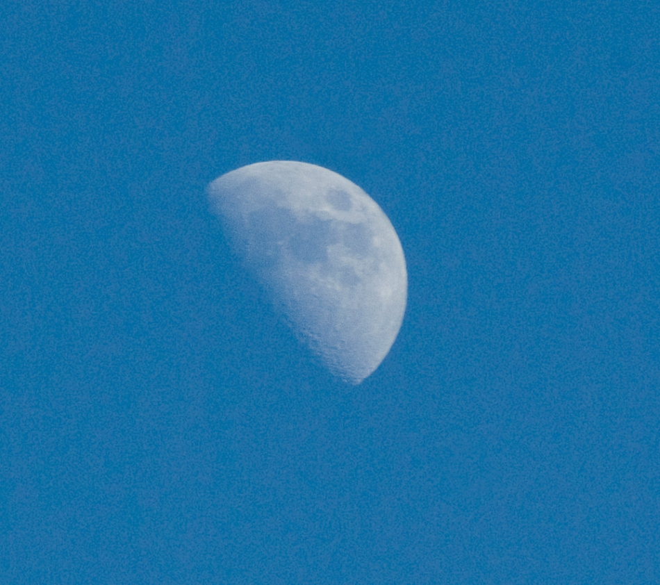 first quarter moon during day