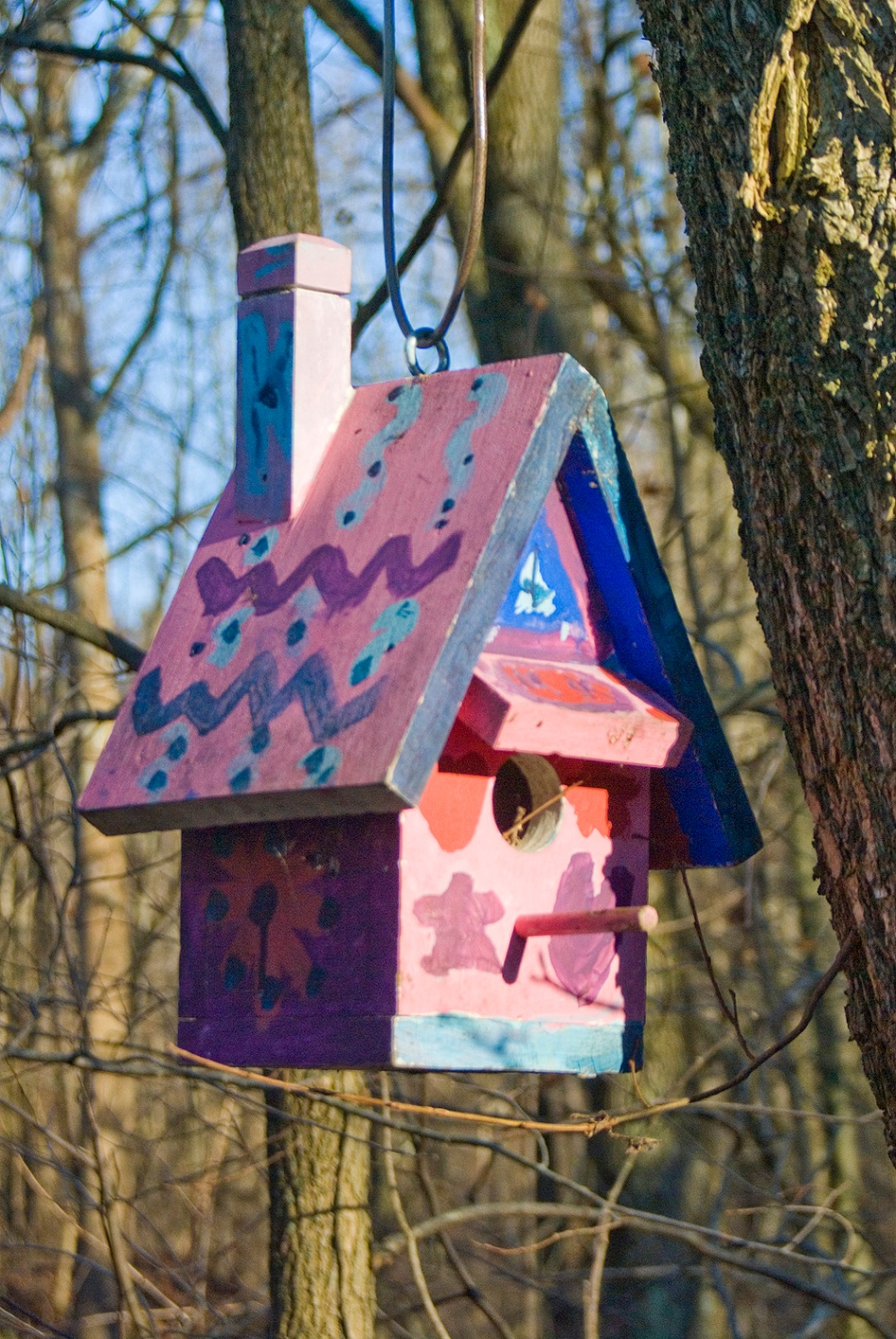 hand-painted birdhouse