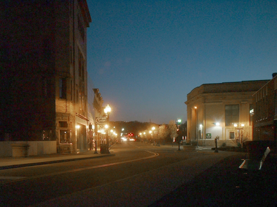 photo of main street at night