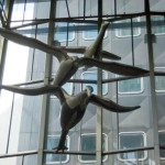 aluminum sculpture of birds