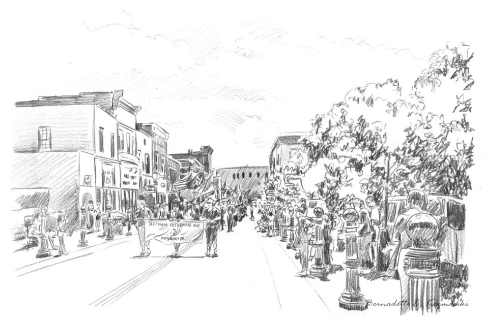 """Memorial Day Parade"", 12"" x 18"", pencil, 2008 © Bernadette E. Kazmarski"